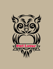Owl lover, art vector design