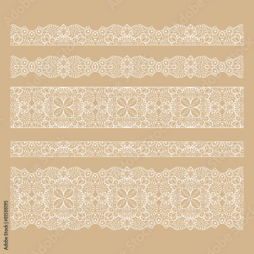 Set of seamless lace borders with transparent background - 81588195