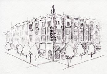 Monochrome scheme drawing building isolated