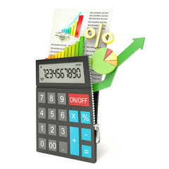 open calculator, isolated white background, 3d