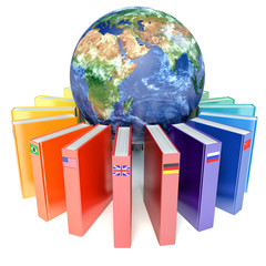 Books with the flags of the countries of the Earth. E-learning c