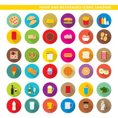 Food and beverages icons shadow.