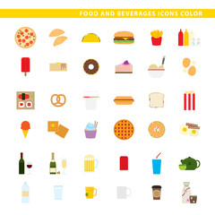 Food and beverages icons color.