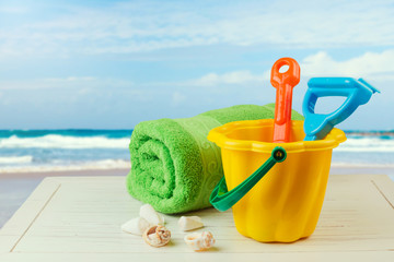 Children bucket and spade for relaxing day on the beach