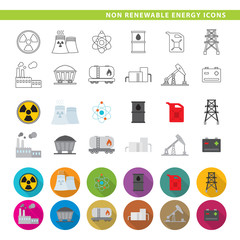 Non renewable energy icons.