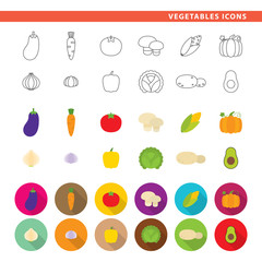 Vegetables icons.
