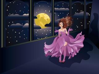 Girl in Purple Dress on Balcony