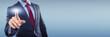 Leinwanddruck Bild - Man with Touchscreen