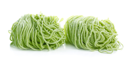 Jade noodle, vegetable noodles, green noodles on white