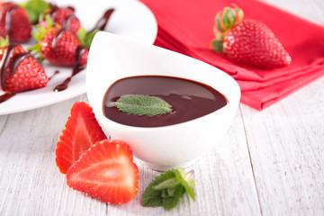 chocolate sauce and strawberry