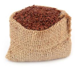 Flax seeds in jute bag