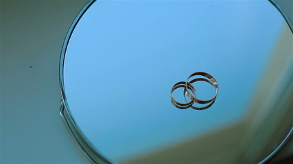 Couple of gold wedding rings. Close-up