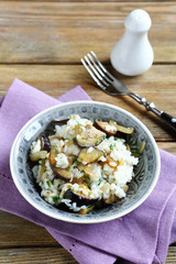 Delicious rice with mushrooms and eggplant