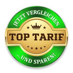 Goldener Top Tarif Siegel mit grünem Rand