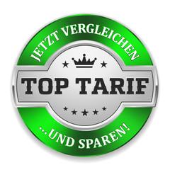 Silberner Top Tarif Siegel mit grünem Rand
