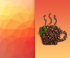 Background. Coffee beans with leaves isolated on white