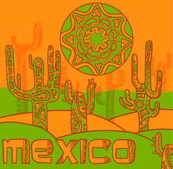 Vector background with traditional mexican ornament