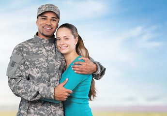 Military. U S Soldier and Wife