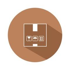 Icono box marrón botón sombra