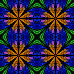 Symmetrical fractal pattern in stained-glass window style. Green