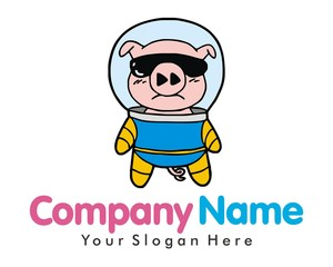 pig hog fly cloud image logo vector