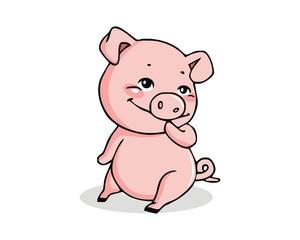 pig hog character mascot image logo vector