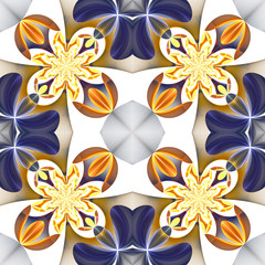 Beautiful symmetrical pattern of the flower petals in fractal de