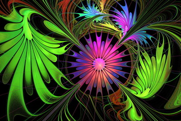 Flower background. Purple and green palette. On black. Fractal d