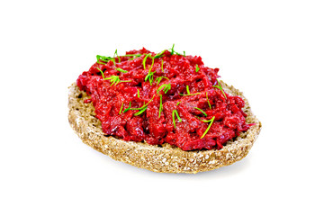 Sandwich with beet caviar and dill