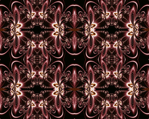 Flower pattern in fractal design. Chocolate and silver. Computer