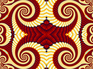 Symmetrical Pattern from Spiral fractal. Yellow and brown palett