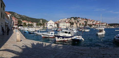 Fishing boats in harbor of the city of Hvar
