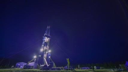 Oil rig and night sky