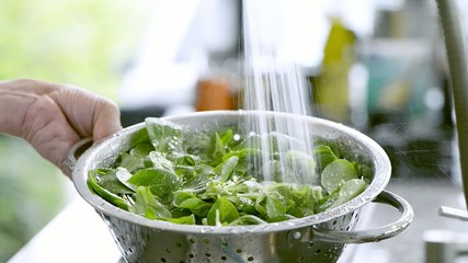 washing lettuce in a strainer