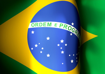 Flapping flag of Brazil