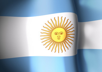 Flapping flag of Argentina