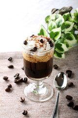 Mocaccino, hot drink with coffee, chocolate and cream