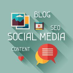 Social media concept illustration in flat design style