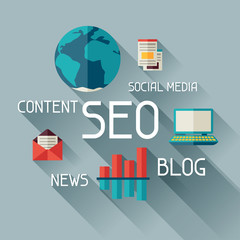 Seo concept illustration in flat design style