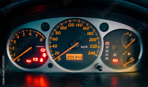 closeup car dashboard - 81593595