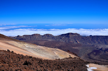 The view from the observation deck of the volcano Teide