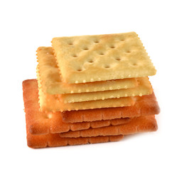 Biscuit overlapping squares white background.