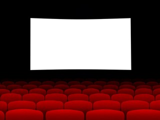Blank cinema screen with empty seats