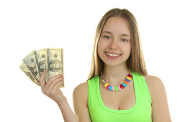 Cheerful attractive young lady holding cash and happy smiling