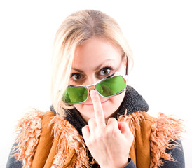 Girl in green glasses isolated on white background