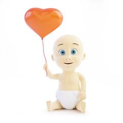 baby holding a balloon heart