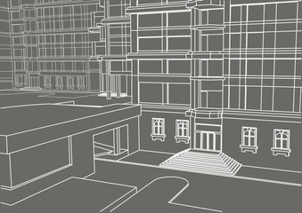 architectural sketch building in few levels on gray background