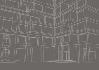 architectural sketch building with balconies on gray background