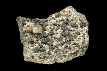 Golden pyrite and dark clinochlore minerals
