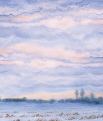 Watercolor background. Sunset over the winter steppe